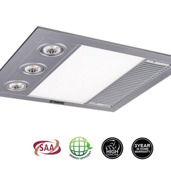 Martec Linear MINI Bathroom 3 IN 1 Heat, Fan & Light – Silver – MBHM1000S